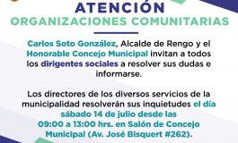 INVITAMOS A LOS DIRIGENTES SOCIALES, ESTE SABADO 14 DE JULIO DESDE LAS 09.00 HORAS EN EL SALON DE CONCEJO DE LA MUNICIPALIDAD DE RENGO.