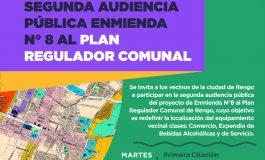 """TODOS LOS VECINOS DE RENGO INVITADOS""""Segunda Audiencia Pública del proyecto Enmienda N°8 al Plan Regulador Comunal de Rengo"""""""