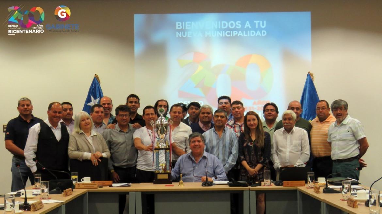 Campeones Super Senior: ASOCIACION FUTBOL RURAL DE ROSARIO VISITA CONCEJO MUNICIPAL