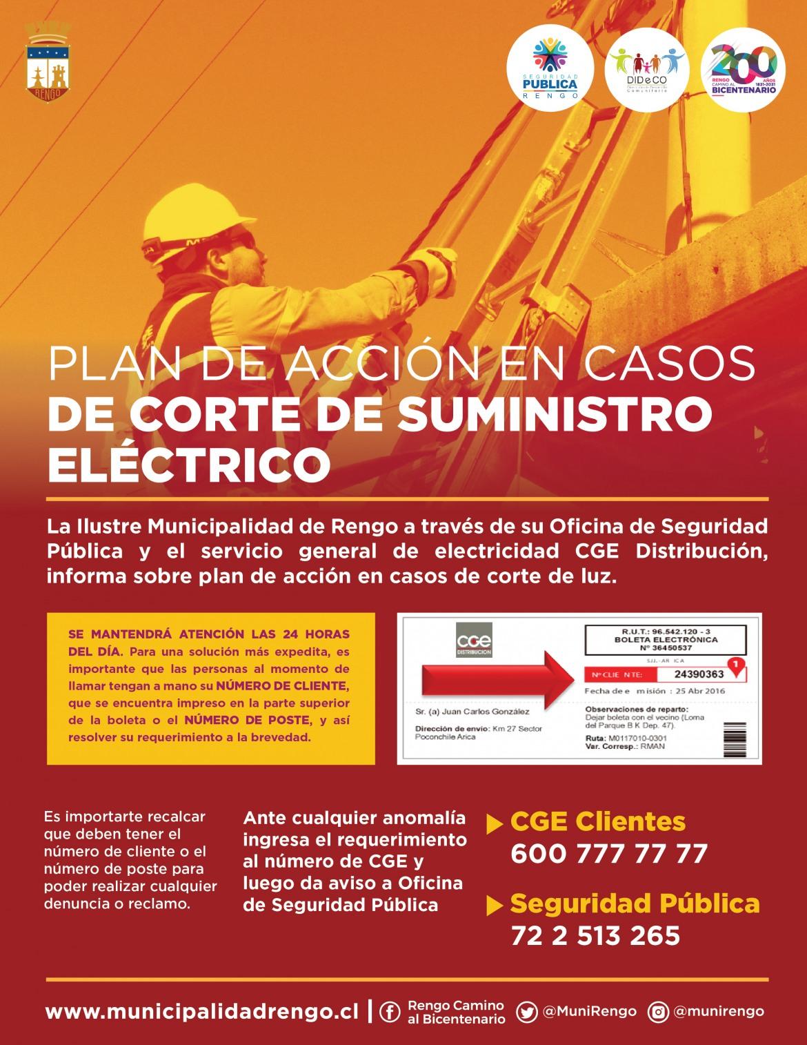 PLAN DE ACCIÓN EN CASOS DE CORTE DE SUMINISTRO ELÉCTRICO